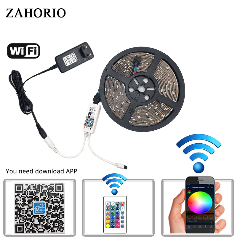 ZAHRIO 5M SMD5050 2835 RGB WIFI LED Strip light Waterproof Diode Tape 24Key Remote WIFI Wireless Controller 12V adapter Full Kit