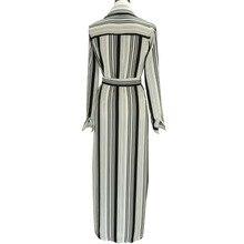 Elegant Women Dress Long Maxi White Black Striped Dress Turn Down Collar Slim Belted Formal Dress