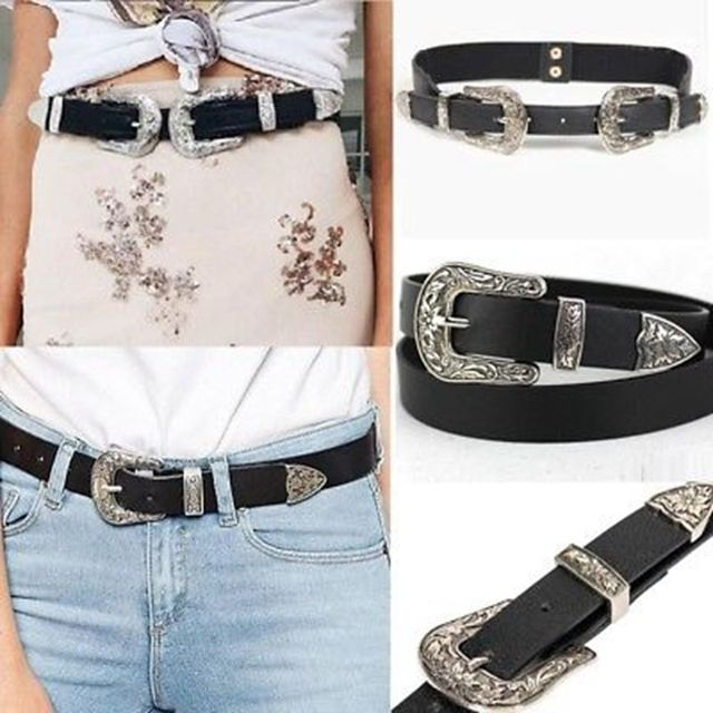 2a7c90ab63b 1 pièces rétro sculpté femmes taille ceinture noir en cuir Western Cowgirl ceinture  Double métal boucle