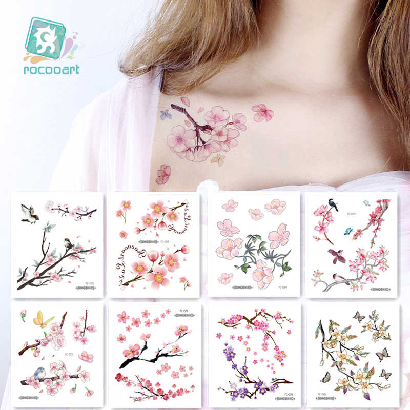 Rocooart Flowers Fake Tattoo Sakura Stickers Chest Taty Waterproof Tatoo Cherry Blossom For Women Tattoo Body Art Taty