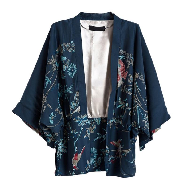 Vintage Summer Women Outerwear Cardigan Flowers birds Printed Chiffon Sun Protection Kimono Shirt