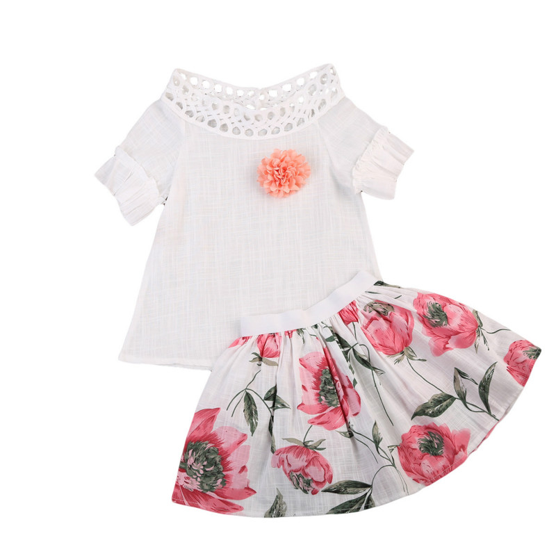2-7Y Kids Baby Girls Clothes Set Cotton Floral Short Sleeve Shirts Tops+ Skirt Dress 2Pcs Set Toddler Kids Outfits Clothing Sets