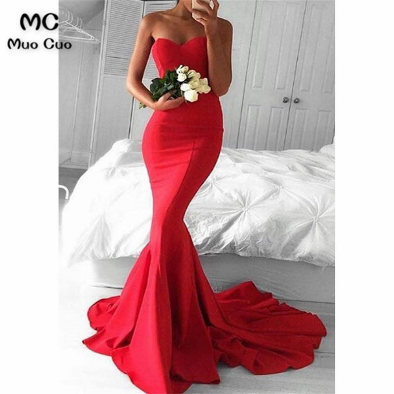 New Arrival 2019 Red Mermaid Prom Dresses Long Sweetheart Satin Lace Up Back Formal Women s