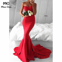 New Arrival 2018 Red Mermaid Prom Dresses Long Sweetheart Satin Lace Up Back Formal Women's Evening Dresses Prom Dress
