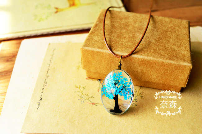 HTB1DrRhQpXXXXbZXFXXq6xXFXXX7 - Handmade Natural Dry Flowers Life Tree Long Necklaces & Pendants
