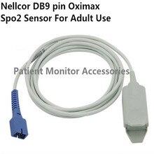Free Shipping Compatibe for Nellcor DB9 Pin with 0ximax Tech Adult FingerClip Spo2 Sensor Pulse Oximeter Spo2 Probe Cable TPU1M