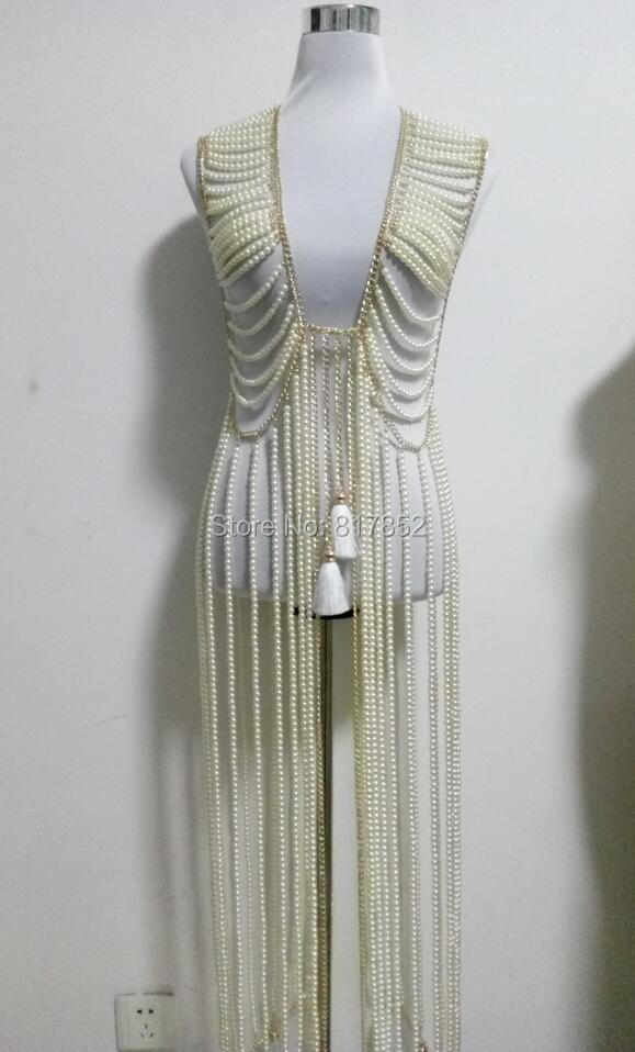 New Style Fashion Women Gold colour Chains Layers Imitation Pearls Beads Longer Dress Body Chains Jewelry WRB26