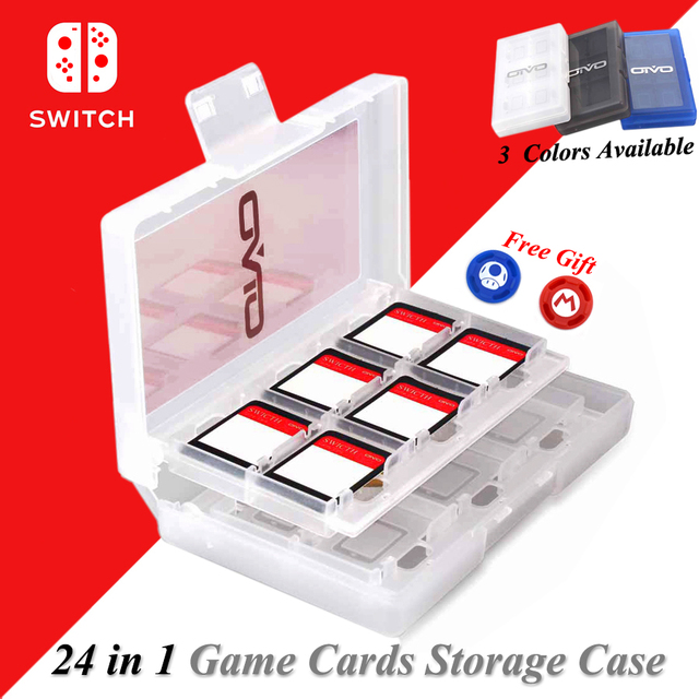 Nintend Switch Accessories 24 in 1 Portable Game Cards Storage Case Shell, Games Card Box for Nintendo Switch Game