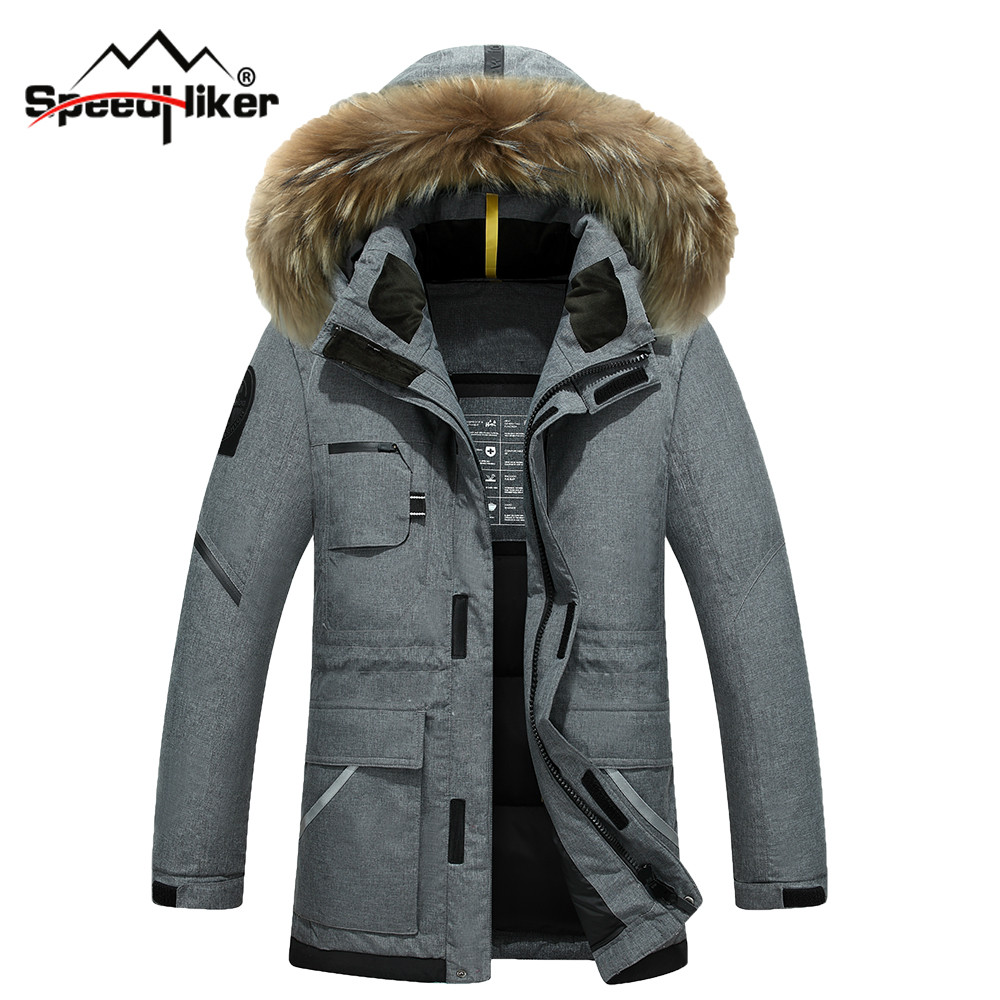 Speed Hiker Thick Down Jacket Men 2016 Winter With Hood Detached Warm Waterproof Big Raccoon Fur Collar For -40 degrees K3065
