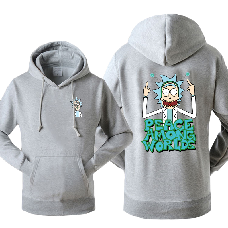 Rick And Morty Hoodies Men Peace Among Worlds Print Funny Hooded Sweatshirt 2018 Spring Autumn Warm Fleece Hipster Sweetwear