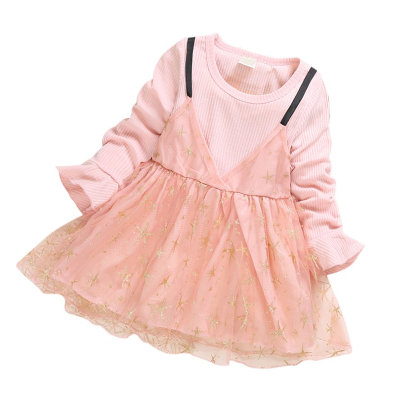 Baby Girl Princess Dress Fake 2Pcss Toddler Cartoon Star Pattern Long Sleeve Cotton Mesh Dresses Spring in Dresses from Mother Kids
