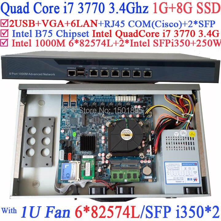 Quad Core i7 3770 1U Network Firewall Router with 6 1000M 82574L Gigabit Nics 2 intel