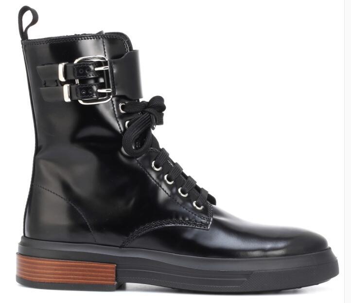 Véritable Talons Bottines 2018 À forme Mode Bottes 40 Punk black Rock Noir Martin De Moto Cuir Plate Size35 Lacets Bas Noir qSOxEwn61S