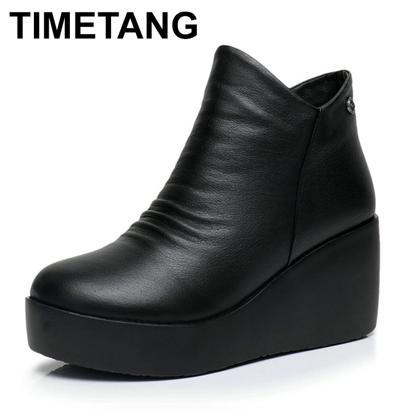 TIMETANG 2017 New Autumn Winter Women Shoes Woman Genuine Leather Wedges Snow Boots Height Increasing Ankle Women Boots Size timetang 2017 new autumn winter women shoes woman genuine leather wedges snow boots height increasing ankle women boots size