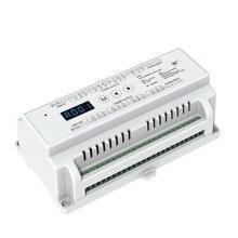 Новый D24 CV светодио дный DMX512 декодер постоянное Напряжение; DC5-24V вход; 3A * 24CH выход на din-рейку 24 канала декодер dmx RGB Strip контроллер