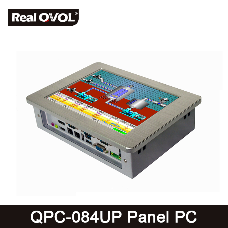 QPC-084UP Panel touch PC industrial computer fanless Intel 1037U 1.8GHz CPU, 32GB SSD with VGA HDMI port & 4 Serial Port,2 LAN thin client fanless industrial pc embedded intel celeron 1037u 4 rs232com port 2 gigabit lan usb3 0 win 7