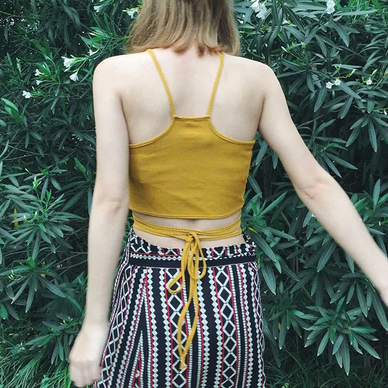 Holiday Style Sexy Waist Cross Lace Up Design Wome Top Solid Crop Cami Sexy Ladies Solid Summer Bustier Crop Top