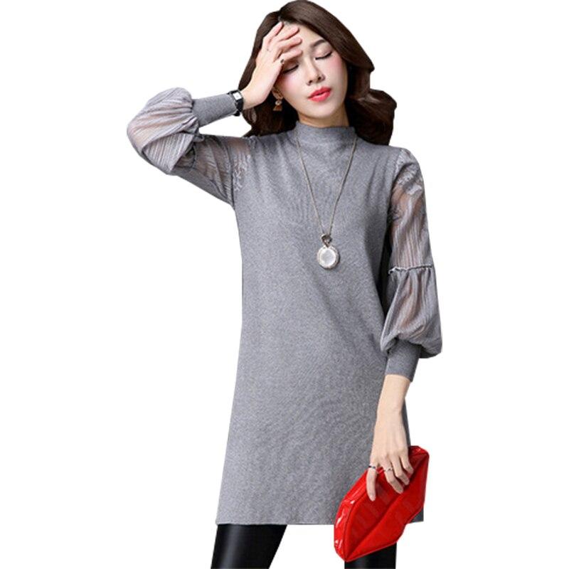 Длинные пуловеры платья