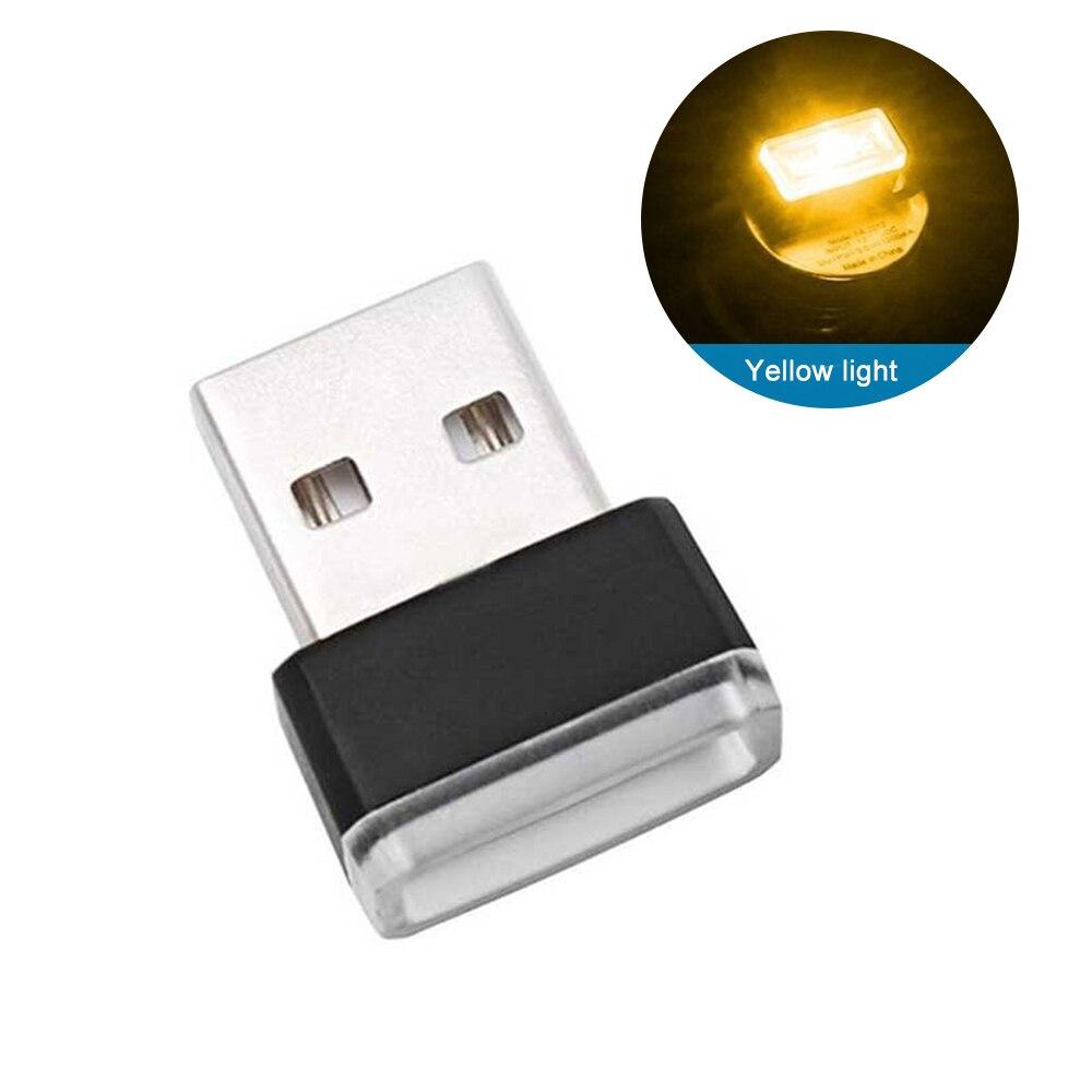 Мини USB светильник светодиодный модельный автомобильный окружающий светильник неоновый интерьерный светильник Автомобильные украшения(7 цветов на светильник - Испускаемый цвет: Цвет: желтый