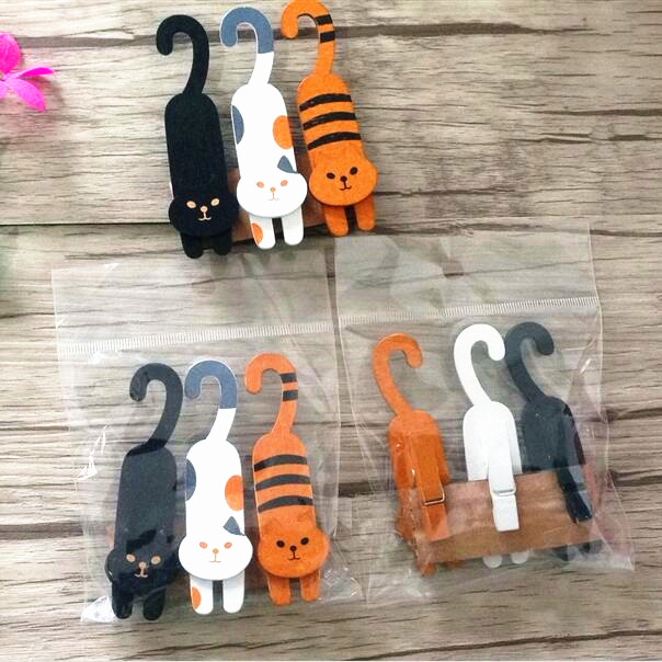 3pcs/pack/lot Cute Naughty Cat Design Wooden Clip Set Decoratioin Tool Helper For Bag Sealing Clip Retail