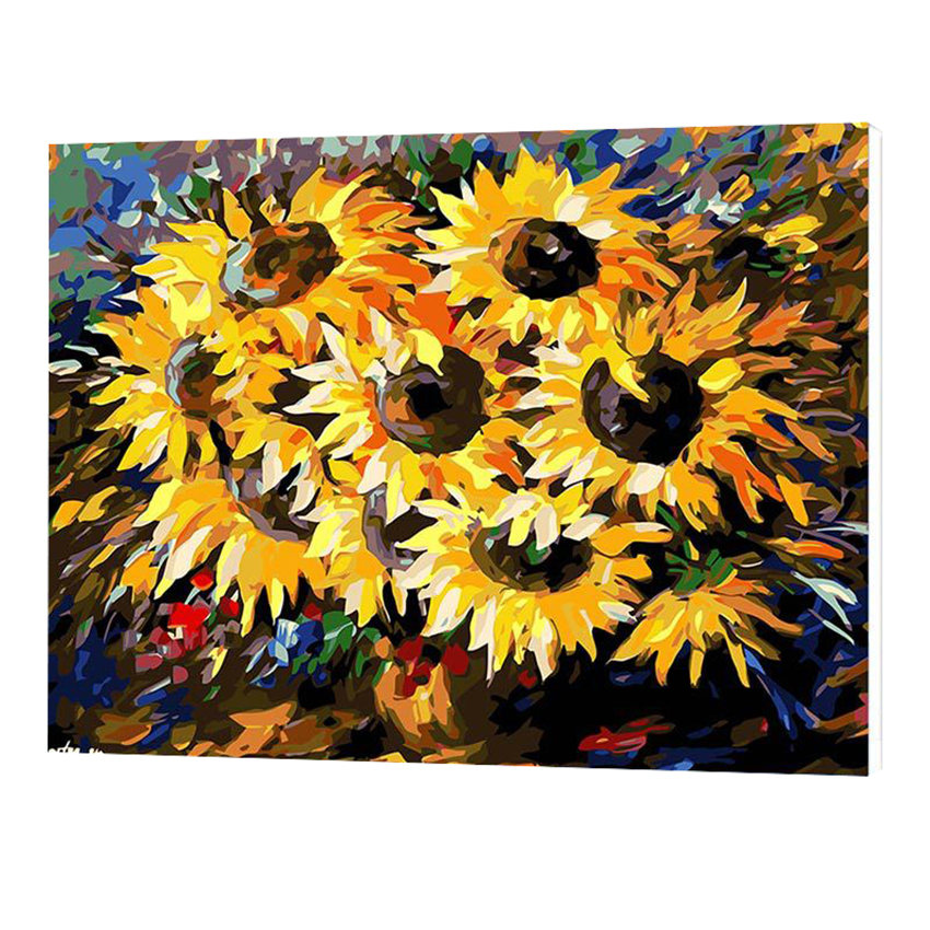 WONZOM Sunflowers Oil Painting By Numbers DIY Abstract Digital Picture Coloring By Numbers On Canvas Unique Gift For Home 2017 in Painting Calligraphy from Home Garden