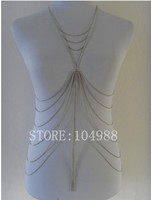 2013 FREE SHIPPING STYLE BY 122 European Silver Metal Full Body Chain Jewelry Multilayer Tassel Chain