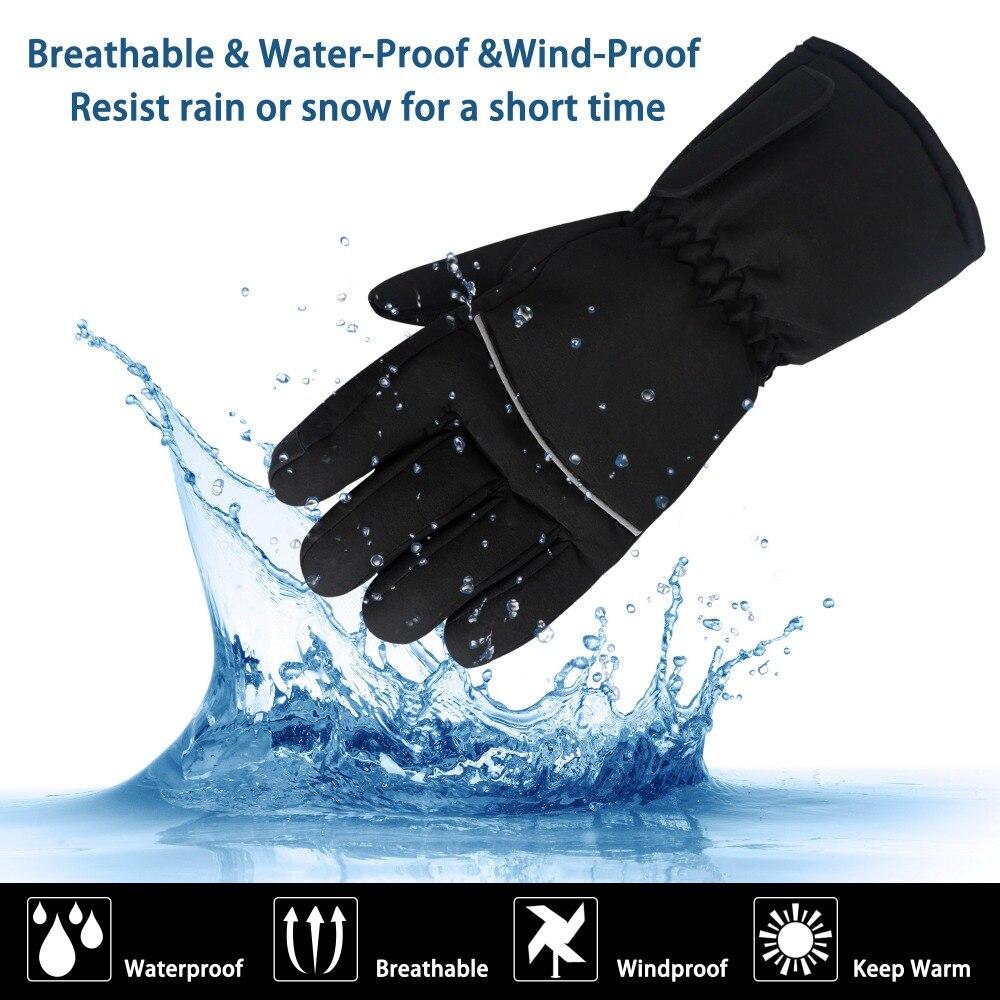 GlobalV batterie électrique gants chauffants pour hommes femmes, activités de plein air moto Ski randonnée chaleur chaude gants Rechargeable - 3