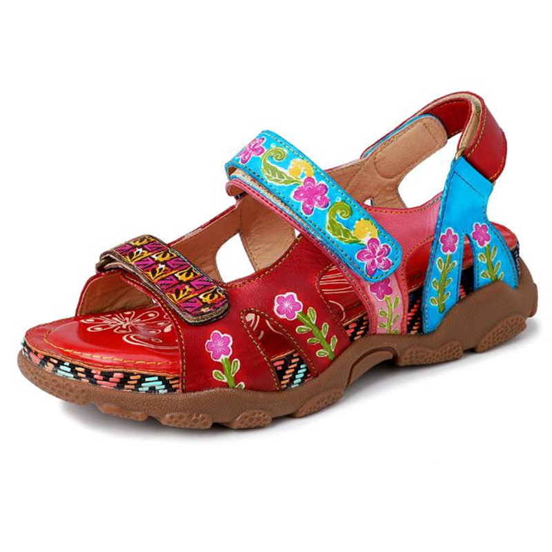Summer new handmade flower platform sandals Leather large size womens shoes Casual flat Sport sandals FemaleSummer new handmade flower platform sandals Leather large size womens shoes Casual flat Sport sandals Female
