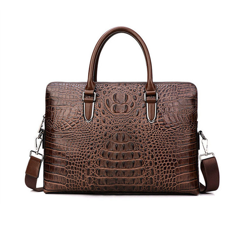 Mens Bags Handbags Business Shoulder Bags Crocodile Cross Head Leather Cowhide BriefcaseMens Bags Handbags Business Shoulder Bags Crocodile Cross Head Leather Cowhide Briefcase