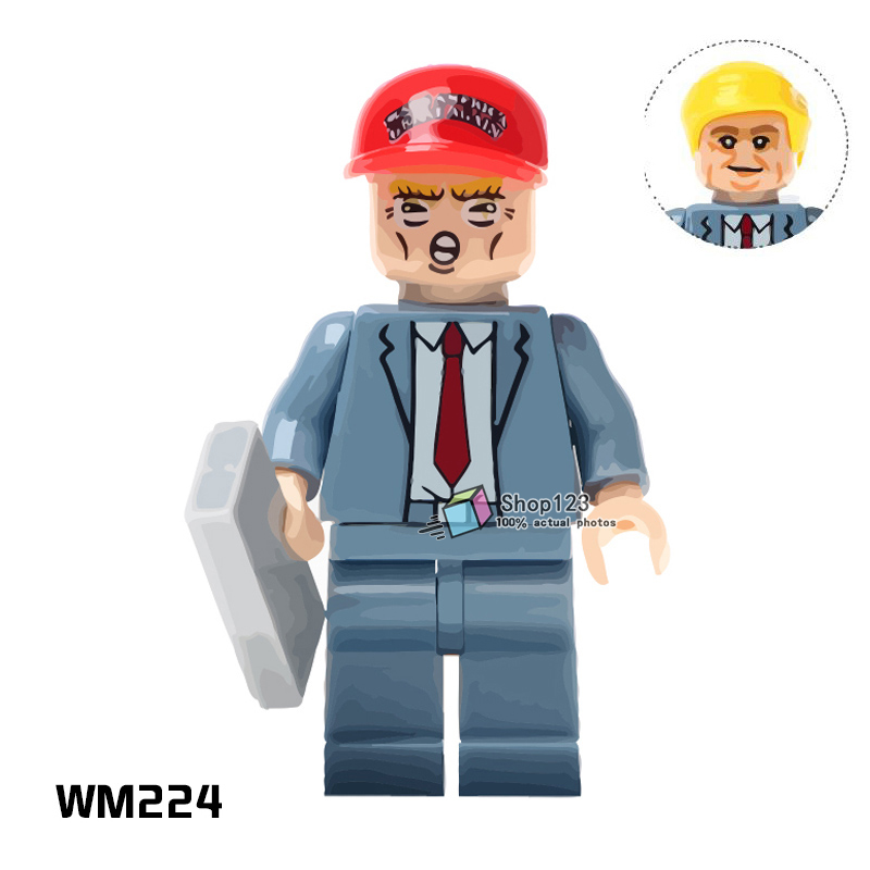 Legoing Trump Donald John Trump With Red Color Hat Freddie Mercury Super Heroes Building Blocks Bricks Toys for Children Gifts