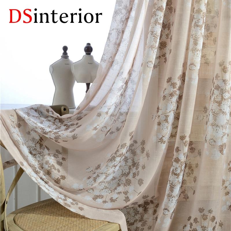 DSinterior květinový tisk tylové záclony pro okna ložnice nebo obývacího pokoje