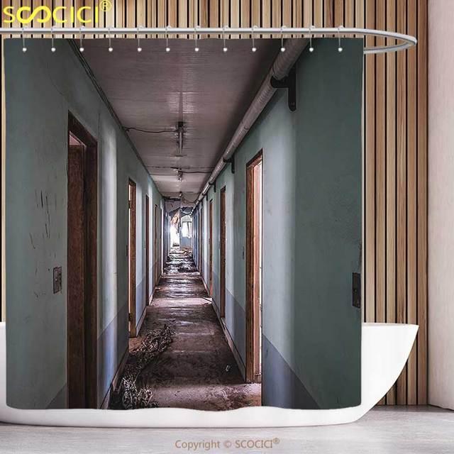 Unique Shower Curtain Rustic Interior Hallway Of Korean Psychiatric Hospital Asylum Nostalgic Picture Brown Blue Bathroom