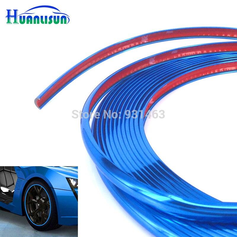 HUANLISUN 4 metre Chrome Moulding Trim Strip Tire Guard Grille Headlight Decoration Line Decal Wheel Hub Rim Edge Protector