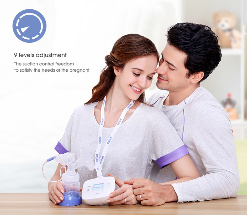 Amama newborn baby smart LCD USB Electric breast pump Ultra-Quiet Portable Breastfeeding Pump with 9 Levels Adjustable Suction