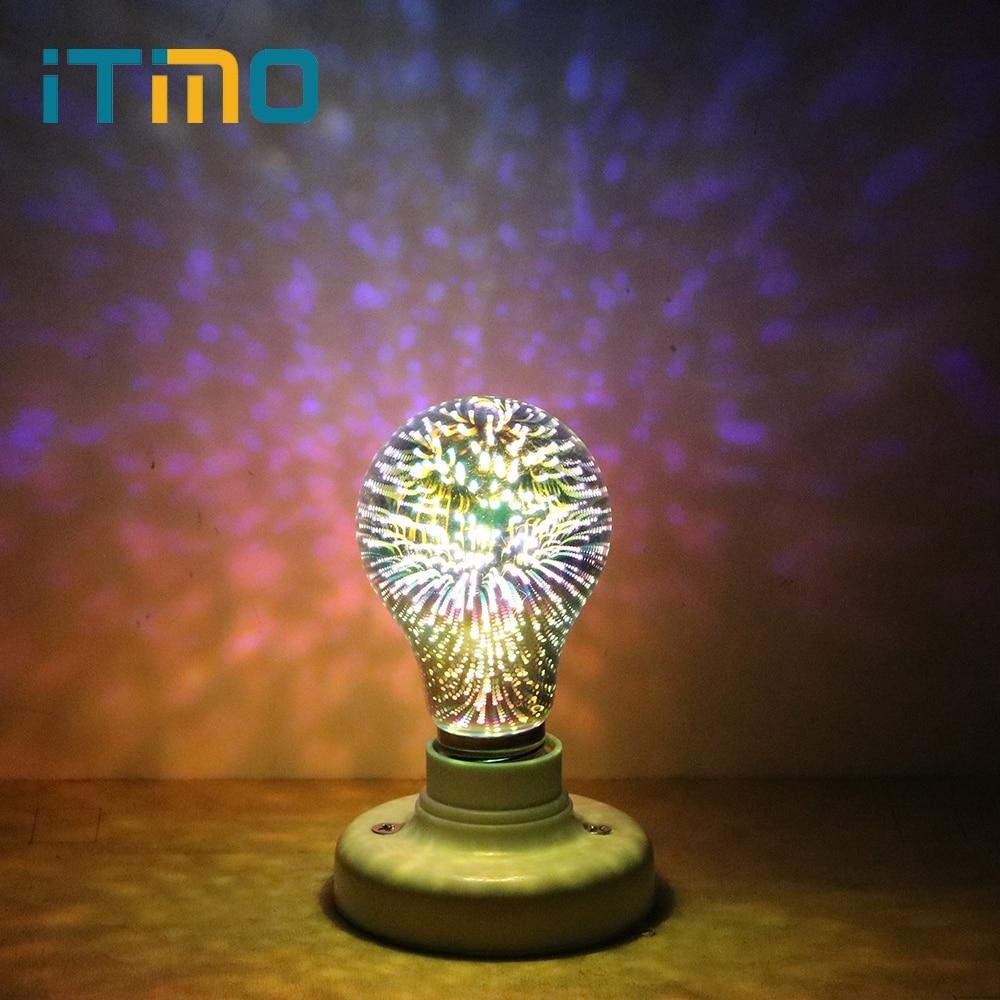 iTimo Stars LED 3D Fireworks Light Bulb E27 4W AC 85-265V Bar Party Holiday Lamp Decorative Edison Bulb Creative Room Decors 5w e27 led 3d light bulb creative colorful decorative lamp