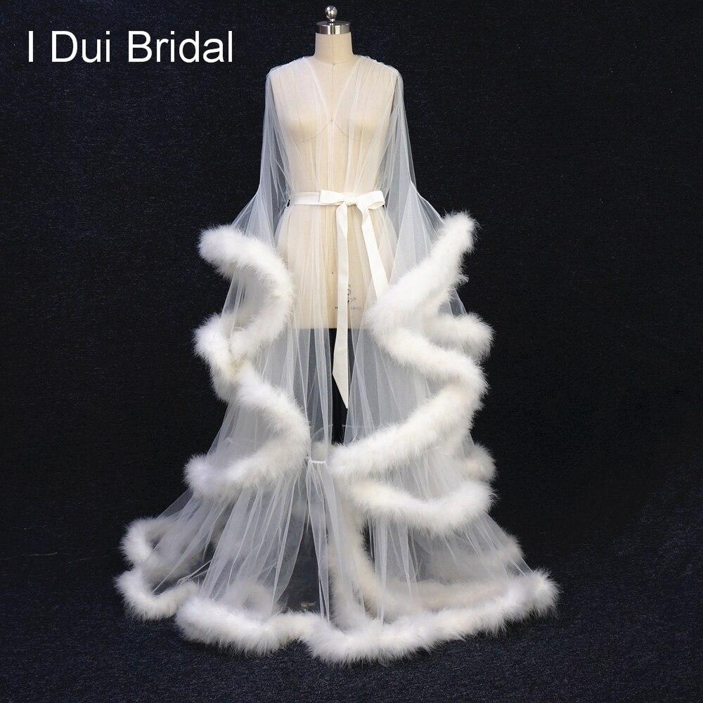 Кот перо Свадебный халат Тюль Иллюзия Длинные свадебная шаль индивидуальный заказ перо платье на день рождения интимной одежды