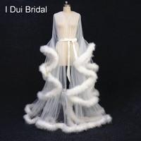 Кот перо свадебное платье Тюль Иллюзия Длинные свадебная шаль индивидуальный заказ перо платье на день рождения Интимная одежда