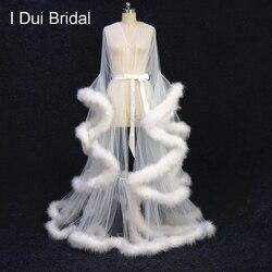 Elfenbein Feder Braut Robe Tüll Illusion Lange Hochzeit Schal Nach Maß Feder Geburtstag Robe Intimate Apparel
