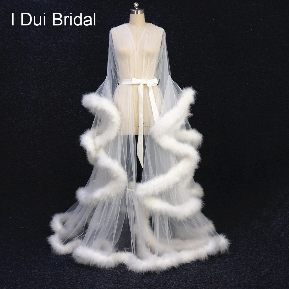 Ivory Feather Bridal Robe Tulle Illusion Long Wedding Scarf Custom Made Feather Birthday Robe Intimate Apparel