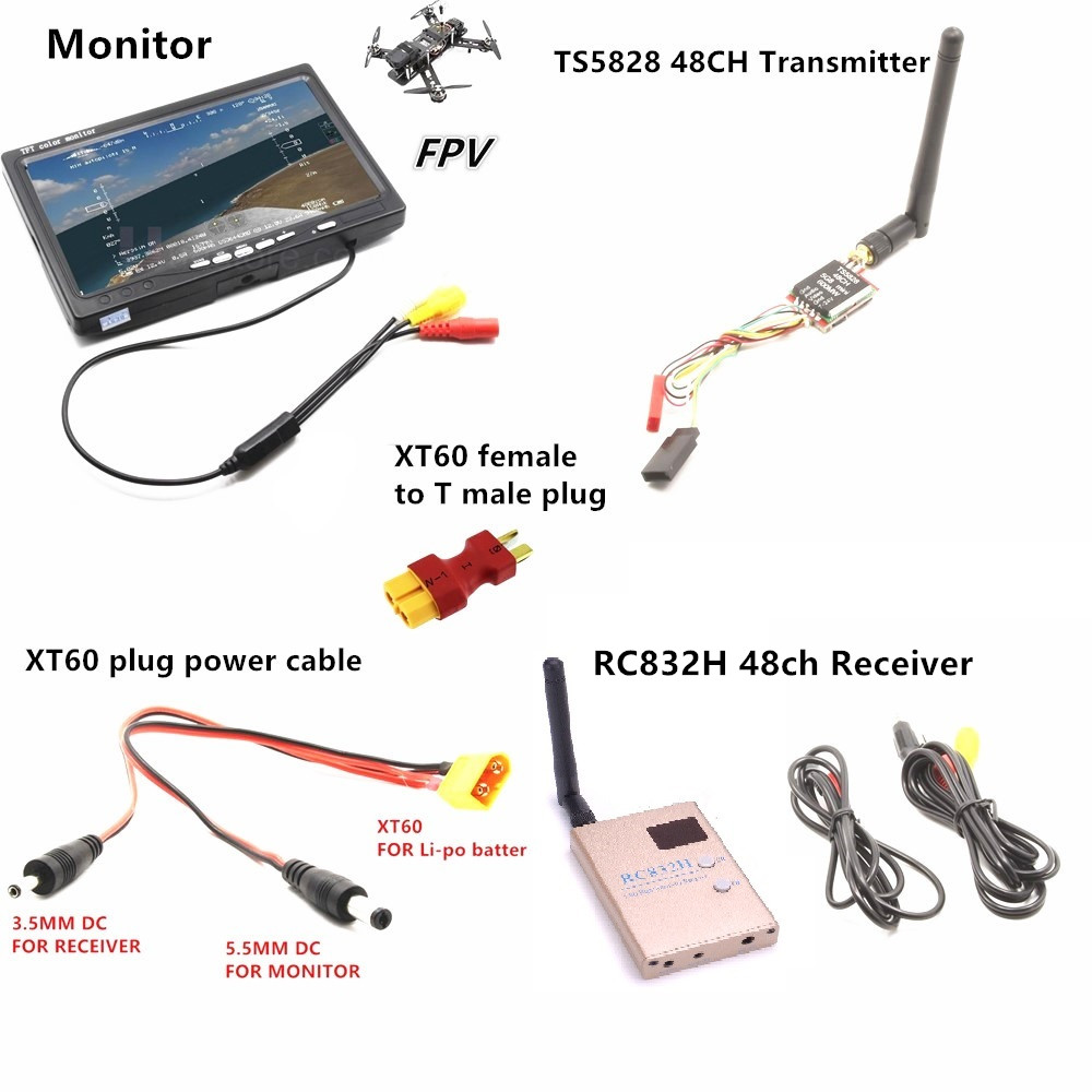 RC FPV Combo System 5 8Ghz 5 8g 600mw ts5828 Mini Transmitter RC832H Receiver Monitor for