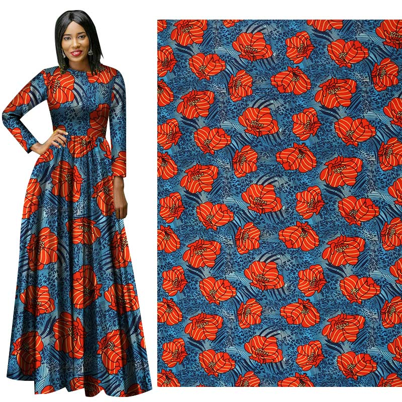 Me-dusa 2019 New Latest African Print Wax Fabric 100% Polyester Hollandais Wax DIY Dress Suit cloth 6yards/pcs high quality(China)