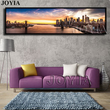 Brooklyn Bridge Panorama Canvas Painting Prints New York Nightfall City Wall Picture For Modern Home Decor Huge Size (No Frame)