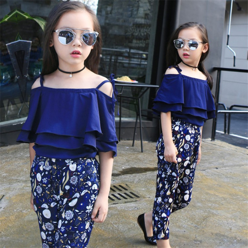 8237f6b8f54f Girls clothing sets 2019 summer kids clothes for teenager off shoulder T shirt  floral pants kids tracksuit children clothing-in Clothing Sets from Mother  ...