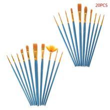 20pcs/set Artist Paint Brush Nylon Hair Watercolor Acrylic Oil Painting Drawing Supplies Art Accessory