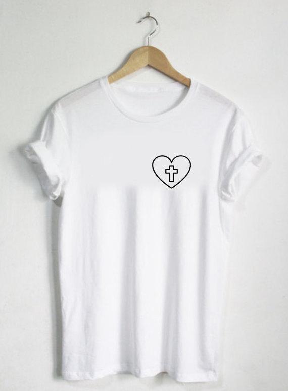 Cross Shirt - Bijbel God Tshirt Dames shirts Christian Katholiek - Dameskleding