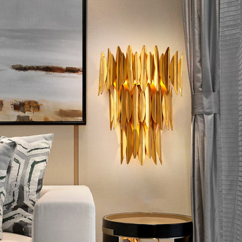 Nordic Modern Luxury Gold Copper Led Wall Lamp Bedroom Corridor Bedside  Lamp Wall Sconce Lighting Fixtures Wall Art Home Decor