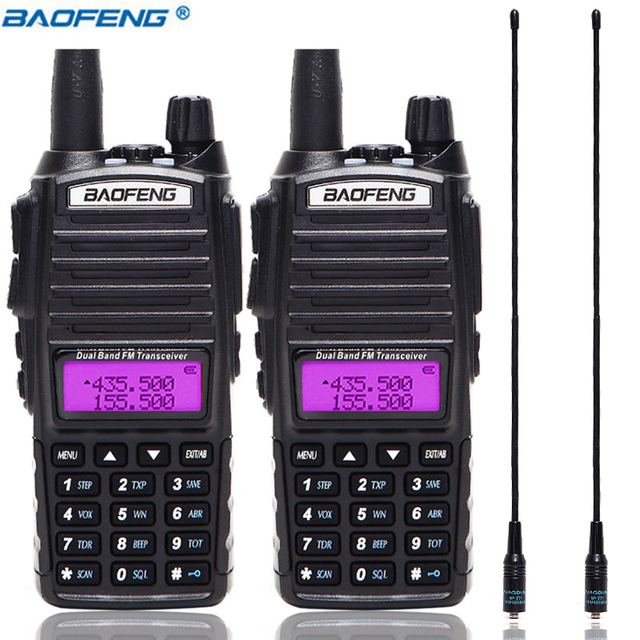 2 Stuks Baofeng UV 82 5W Draagbare UV82 Walkie Talkie Dual Band 2 Ptt Vhf Uhf Uv 82 Ham Amateur radio Transceiver + NA 771 Antenne