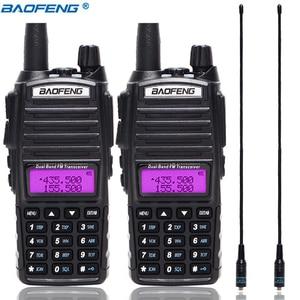 Image 1 - 2Pcs Baofeng UV 82 5W Portable UV82 Walkie Talkie Dual Band 2 PTT VHF UHF  UV 82 Ham Amateur Radio Transceiver + NA 771 Antenna