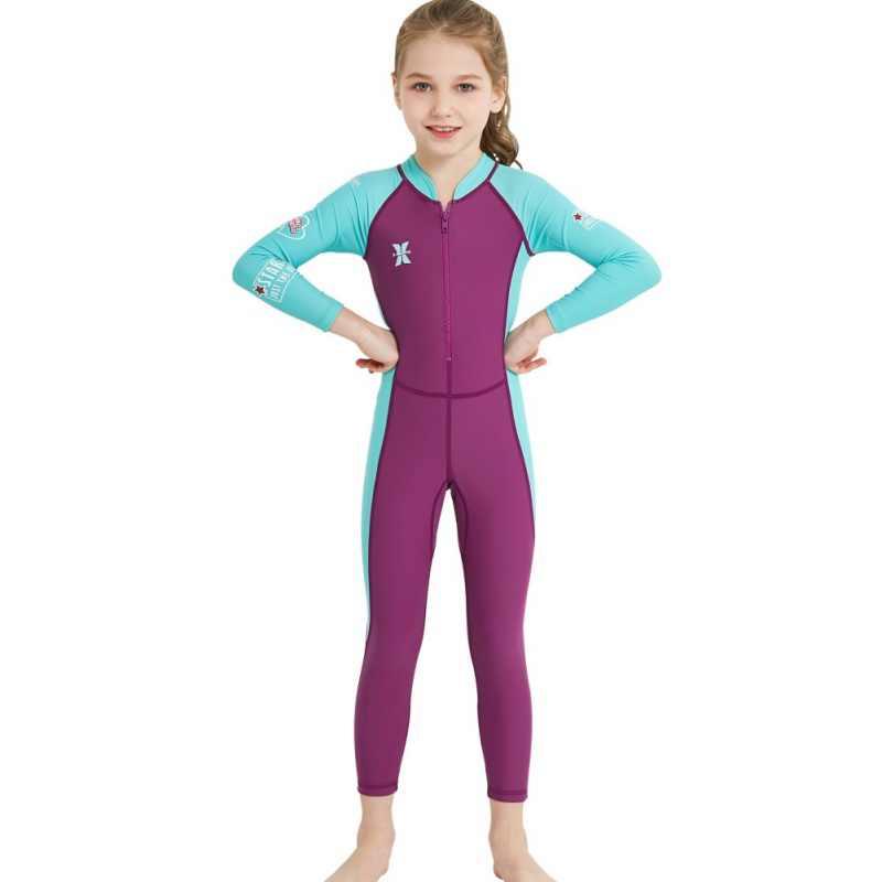 Een stuk 2.5MM Neopreen Kids Duikpak Wetsuit kinderen voor jongens meisjes Warm Houden Lange Mouwen UV bescherming badmode