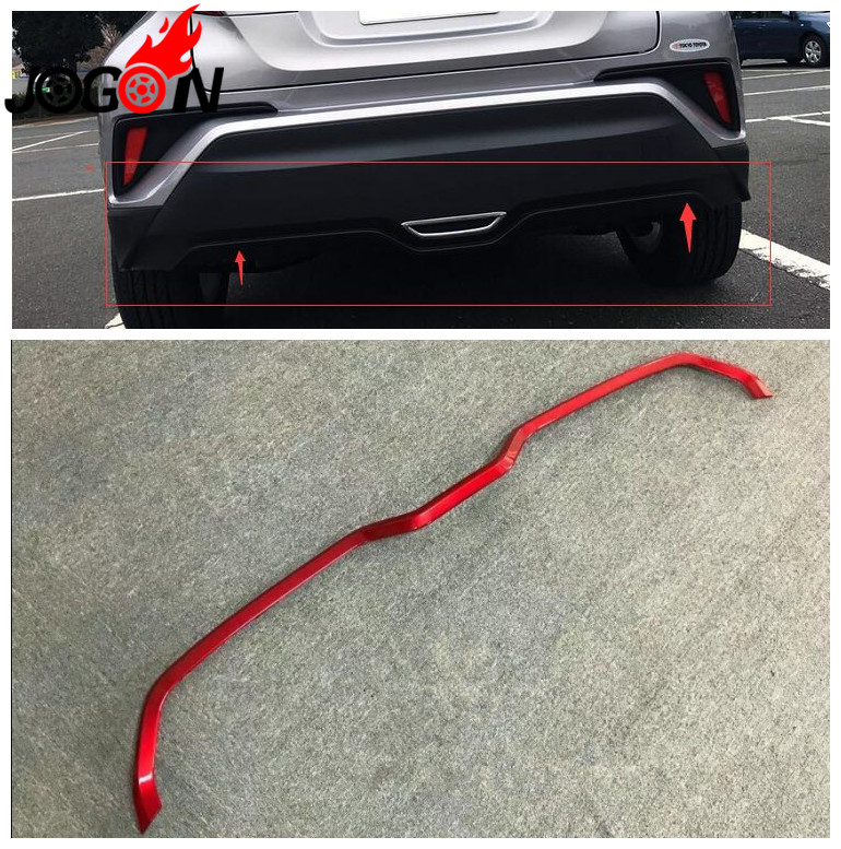 Car Rear Bumper Trim ABS Chrome 1PC Back Trunk Cover Glossy Red Accessories For Toyota C-HR CHR 2016 2017 2018Car Rear Bumper Trim ABS Chrome 1PC Back Trunk Cover Glossy Red Accessories For Toyota C-HR CHR 2016 2017 2018
